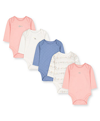Mothercare Lovely Bunny Bodysuits - 5 Pack