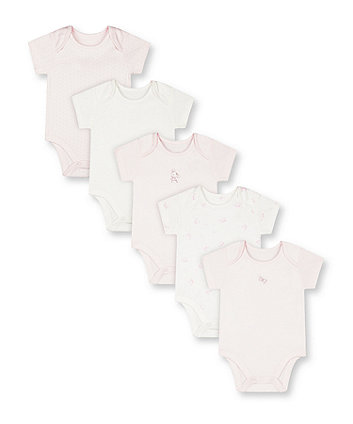 Mothercare Pink My First Bodysuits - 5 Pack