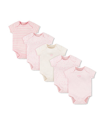 Mothercare Pink Mummy And Daddy Bodysuits - 5 Pack
