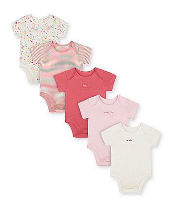 Mothercare Pink Little Friends Bodysuits - 5 Pack