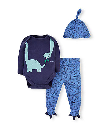 Mothercare Blue Dinosaur Bodysuit, Leggings And Hat Set