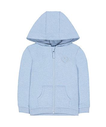 Mothercare Blue Marl Silver Heart Zip-Through Hoodie
