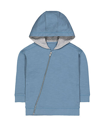 Mothercare Blue Diagonal Zip-Through Hoodie