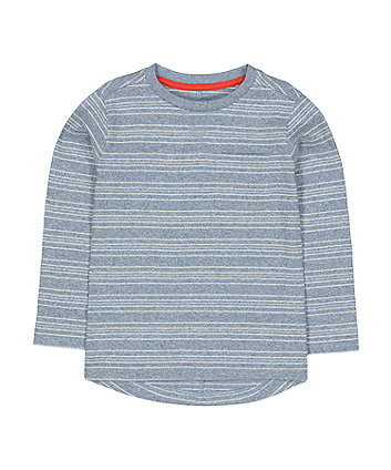 Mothercare Textured Longsleeves Stripe T-Shirt - Blue