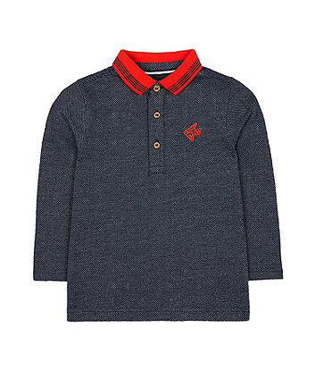 Mothercare Navy And Orange Polo T-Shirt