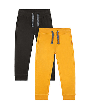 Mothercare Mustard And Black Joggers - 2 Pack