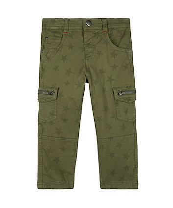 Mothercare Khaki Star Woven Trousers