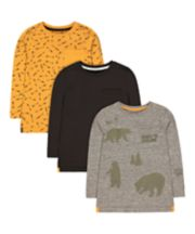 Mothercare Grey Bear, Mustard Arrow And Charcoal T-Shirts - 3 Pack