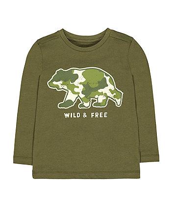 Mothercare Camo Bear Longsleeves T-Shirt - Green