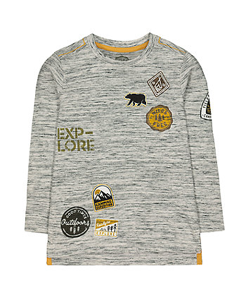 Mothercare Badges Longsleeves T-Shirt - Grey