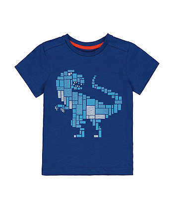 Mothercare Blue Pixel Dinosaur T-Shirt