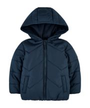 Mothercare Blue Padded Jacket With Fleece Lining