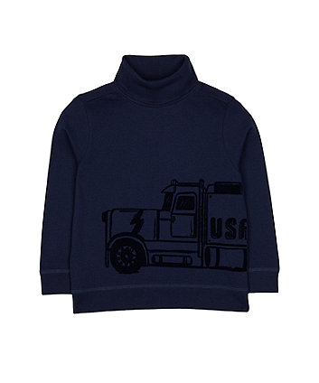 Mothercare Navy Truck Roll Neck Top