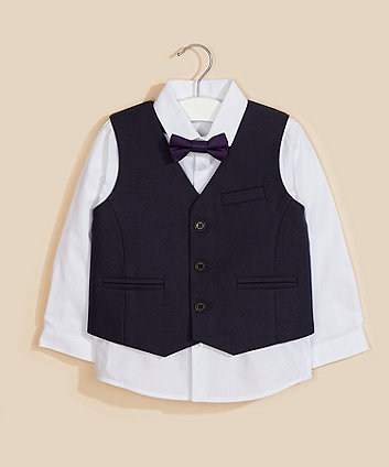 Mothercare Shirt, Waistcoat And Bow Tie Set