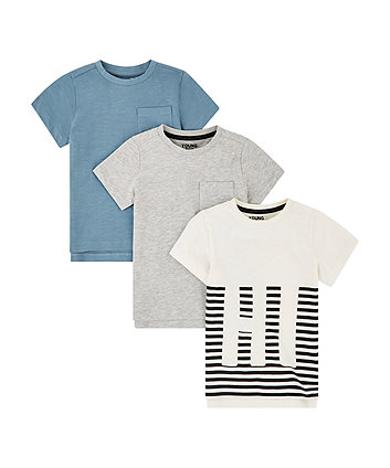 Mothercare Stripe, Grey And Blue T-Shirts - 3 Pack