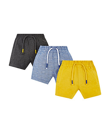 Mothercare Yellow, Grey And Blue Shorts - 3 Pack