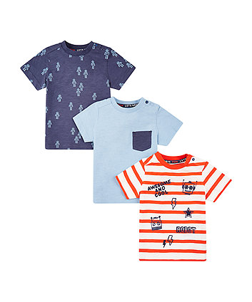 Mothercare Blue, Stripe And Robot T-Shirts - 3 Pack