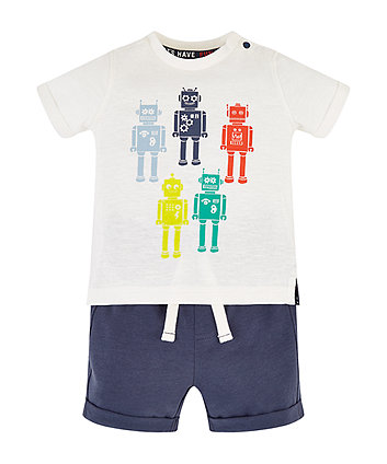 Mothercare Robot T-Shirt And Blue Shorts Set