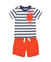 Mothercare Stripe Robot T-Shirt And Red Shorts Set