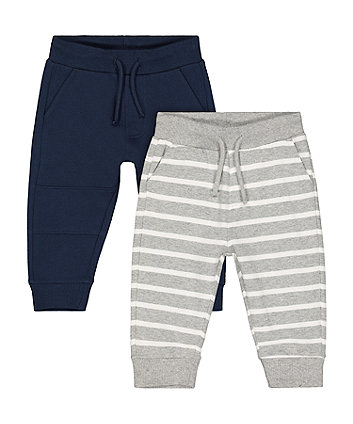 Mothercare Blue And Stripe Joggers - 2 Pack