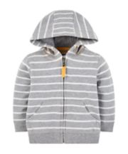 Mothercare Grey Stripe Zip-Through Hoodie