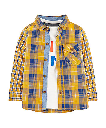 Mothercare Yellow Check Shirt And Awesome T-Shirt Set