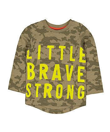 Mothercare Green Camo Little Brave T-Shirt
