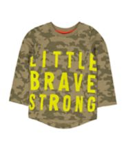 Mothercare Green Camo Little Brave T-Shirt
