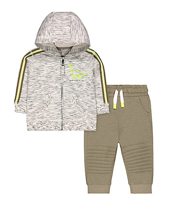 Mothercare Dinosaur Zip Through Hoodie & Khaki Joggers Set