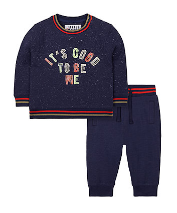 Mothercare Navy Sequin Good To Be Me Sweat Top And Joggers Set