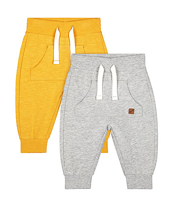 Mothercare Mustard And Grey Joggers - 2 Pack