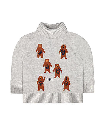 Mothercare Bear Knitted Sweater - Grey