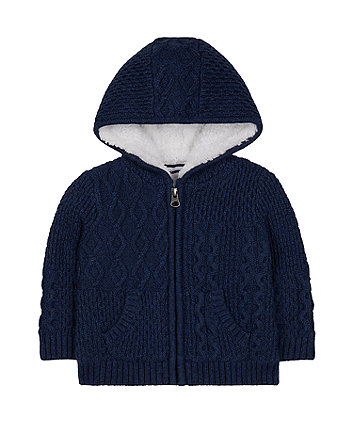 Mothercare Navy Knitted Borg-Lined Hoodie