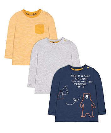 Mothercare Navy Bear, Yellow And Grey T-Shirts - 3 Pack
