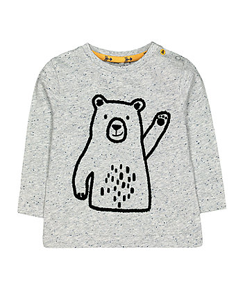 Mothercare Grey Waving Bear T-Shirt