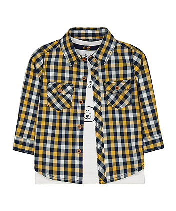 Mothercare Yellow & Grey Shirt With Longsleeves White T- Shirt