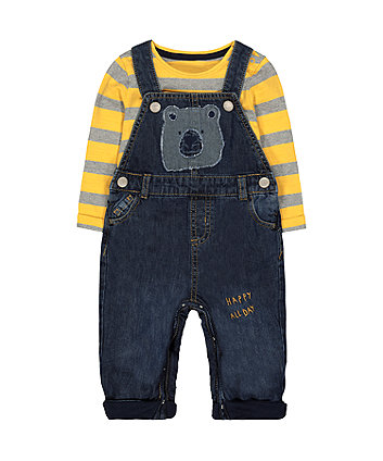 Mothercare Bear Dungarees And Stripe T-Shirt Set