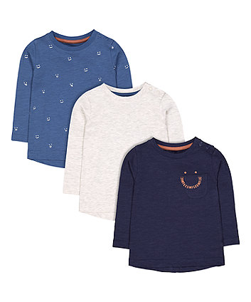Mothercare Blue And Grey Smile T-Shirts - 3 Pack