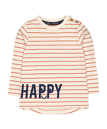 Mothercare Oatmeal Stripe Happy T-Shirt
