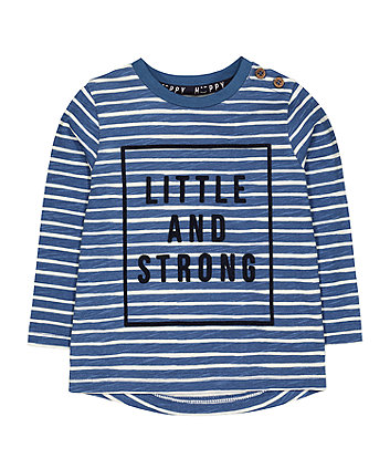 Mothercare Blue Stripe Little And Strong T-Shirt