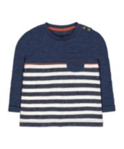 Mothercare White And Navy Stripe T-Shirt