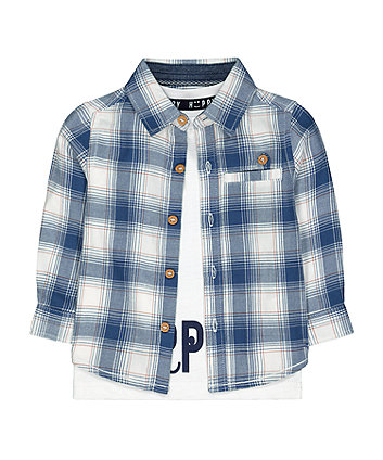 Mothercare Blue Check Shirt And White Happy T-Shirt Set