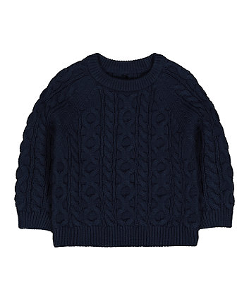 Mothercare Navy Cable-Knit Jumper