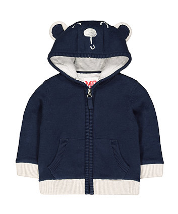 Mothercare Navy Bear Knit Zip-Through Hoodie