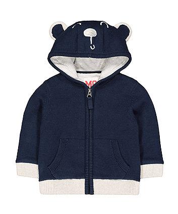 Mothercare Navy Bear Knit Zip-Through Hoodie