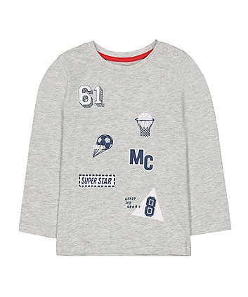 Mothercare Grey Sport Badge T-Shirt