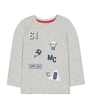 Mothercare Grey Sport Badge T-Shirt