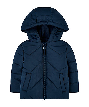 Blue Padded Jacket With Fleece Lining