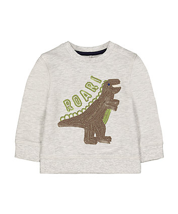 Mothercare Grey Sequin Roar Dinosaur Spike Sweat Top