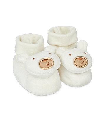 Mothercare Bear Rattle Socktop - White